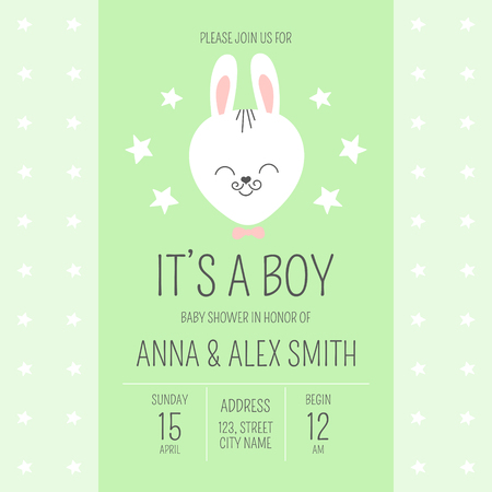 Cute baby shower boy invite card vector template. Cartoon animal illustration. Funny design with little bunny in bowtie and stars background. Green kids newborn banner or birthday party invitation.