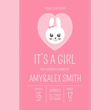 Cute baby shower girl invite card vector template. Cartoon animal illustration. Pink design with little bunny in heart patches. Kids poster banner or newborn birthday party invitation background.
