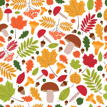 Seamless autumn pattern vector with leaves, oaks, rowan berries and mushrooms. Print for fabric, child illustration, seasonal greeting card and banner, wrapping paper.