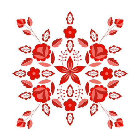 Polish folk pattern vector. Floral ethnic ornament. Slavic eastern european print. Red flower design for rustic wedding card, gypsy pillow case, bohemian interior textile, boho fashion embroidery.