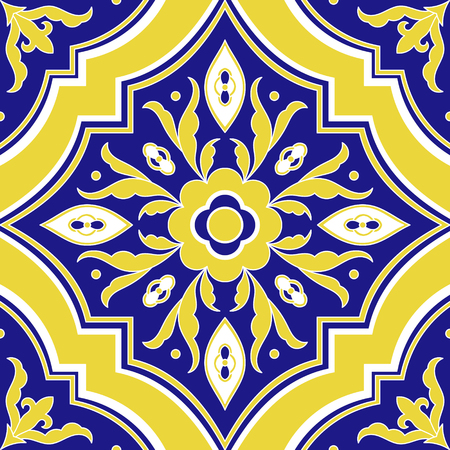 Portuguese tile pattern vector seamless with flower ornaments. Portugal azulejo, mexican talavera, spanish or italian majolica motif. Tiled texture for ceramic kitchen wall or bathroom mosaic floor.