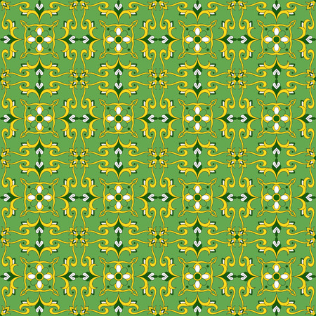 Italian tile pattern vector with flower ornaments. Portuguese azulejo, mexican talavera, spanish or sicily majolica, moroccan motif. Tiled texture background for kitchen or bathroom flooring ceramic.