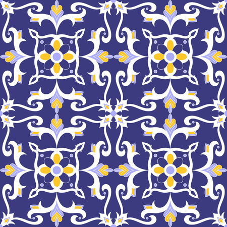 Mexican tile pattern vector seamless with flowers motifs. Portuguese azulejo, talavera, italian, moroccan, spanish majolica design. Puebla tiled print for tablecloth, background or ceramic.