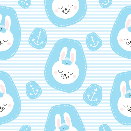 Cute baby pattern with little bunny. Cartoon animal boy print vector seamless. Nautical background with sailor rabbit patches for children birthday party, kids bedroom wallpaper, nursery textile.