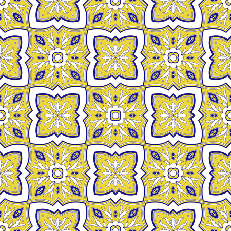 Mexican tile pattern vector seamless with floral ornaments. Portuguese azulejo, mexico talavera, italian majolica, spanish ceramic. Yellow and blue texture for kitchen wall or bathroom mosaic floor.