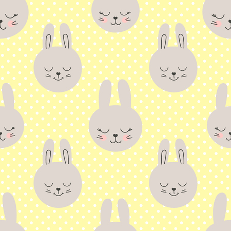 Cute baby pattern with little bunny. Cartoon animal girl and boy print vector seamless. Sunny yellow polka dot background for kids clothing fabric, pajamas, bedroom textile, children birthday party.