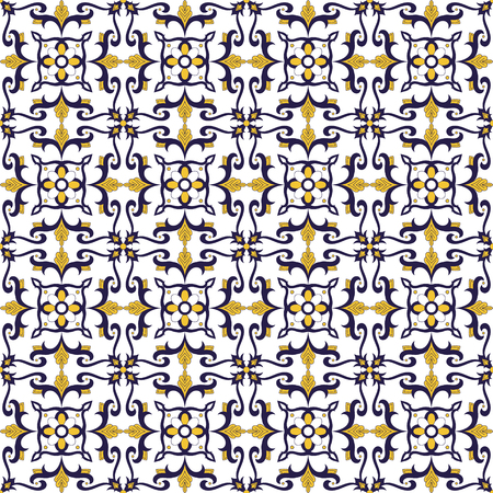 Portuguese tile pattern vector with flower ornaments. Portugal azulejo, mexican talavera, spanish or italian majolica, moroccan motifs. Tiled texture for kitchen or bathroom flooring ceramic.