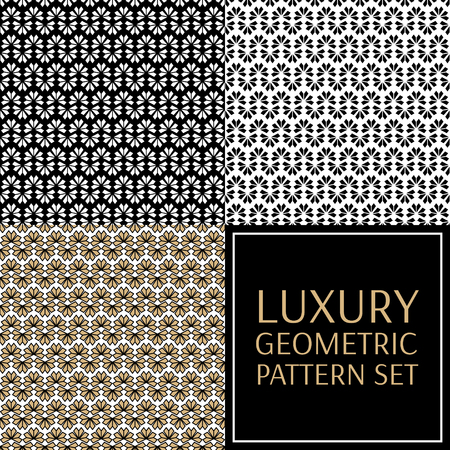 Set of modern pattern vector seamless. Floral geometric luxury collection background. Flower abstract ornament. Ilustração