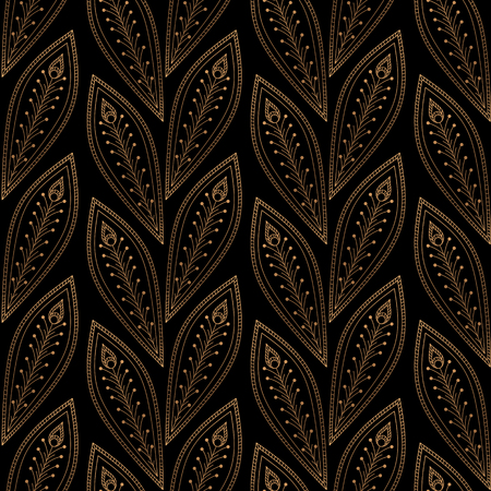 Luxury background vector. Peacock feathers royal pattern seamless. Gold black vintage design for yoga wallpaper, beauty spa salon ornament, bridal shower, indian wedding party, holiday christmas card.