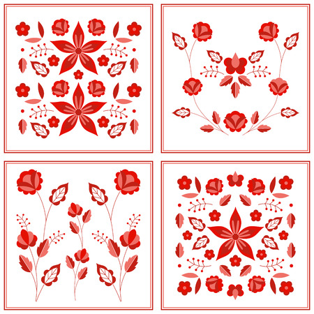 Polish folk pattern vector. Floral ethnic ornament. Slavic eastern european print. Red flower design for gypsy patchwork blanket, pillow case, boho rug, bohemian interior textile, fashion embroidery.