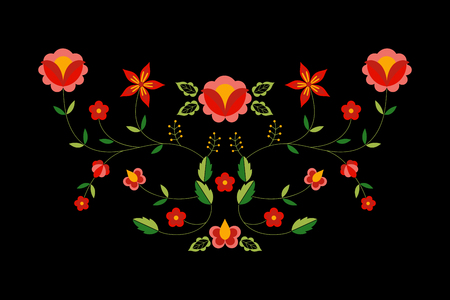 Polish folk pattern vector. Floral ethnic ornament. Slavic eastern european print. Flower design for bohemian pillow case, boho clothing neckline embroidery, gypsy interior textile, greeting cards.