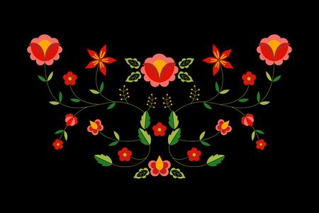 Vecteur de motif folklorique polonais. Ornement ethnique floral. Estampe slave d'Europe orientale. Conception de fleurs pour taie d'oreiller bohème, broderie de décolleté de vêtements boho, textile d'intérieur gitan, cartes de voeux.