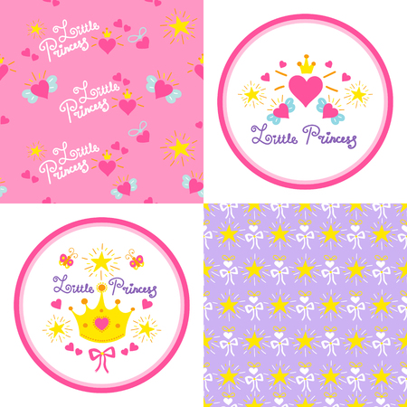 Set of little princess patterns vector and round stickers. Cute girl print with pink hearts, crowns, wings, bows and stars for template birthday card, baby shower invitation, girls wallpaper and fabric. Ilustração