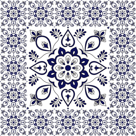 Winter tiles floor. Floral pattern vector with ceramic texture. Big tile in center is framed. Background with portuguese azulejo, mexican talavera, spanish, italian majolica, delft dutch motifs.