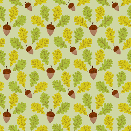 Green forest pattern vector seamless. Acorns and oaks leaves background. Fall colorful print for autumn seasonal banner, kids wallpaper, wrapping paper or card template.