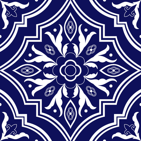 Delft dutch tile pattern vector seamless with flower ornaments. Portuguese azulejo, mexican talavera, spanish or italian majolica. Tiled texture for ceramic kitchen wall or bathroom mosaic floor.