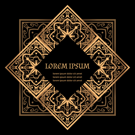 Luxury background vector. Golden royal pattern. Turkish tile frame design for beauty spa, wedding ceremony, greeting card, anniversary template, menu covering, christmas and new year concepts.