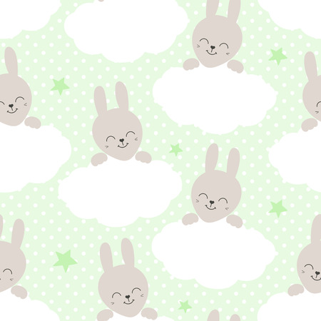 Cute baby pattern with little bunny. Cartoon animal girl print vector seamless. Sweet polka dot background with rabbit and clouds for children fabric, nursery textile, pajamas or birthday party.