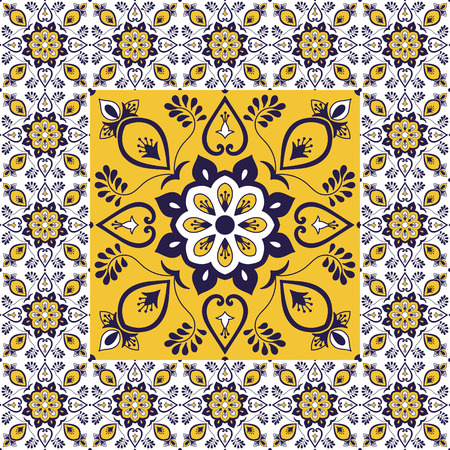 Portuguese tiles pattern vector with porcelain ornament texture. Big element in center is framed. Background with ceramic azulejo, mexican talavera, spanish, italian majolica, moroccan motifs.