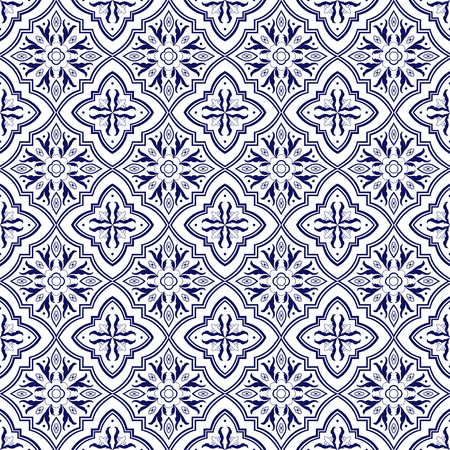 Italian tile pattern vector seamless with flower ornaments. Portuguese azulejo, mexican talavera, spanish majolica or delft dutch. Tiled background for ceramic kitchen wall or bathroom mosaic floor. Archivio Fotografico - 114705130