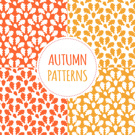 Autumn forest patterns set vector seamless. Acorns and oaks leaves silhouettes background. Fall colorful print for seasonal banner, kids wallpaper, wrapping paper or thanksgiving card template. Ilustração