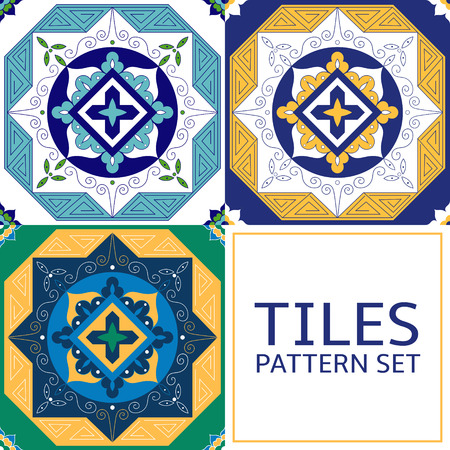 Set of 3 different tile pattern vector. Greek, arabic, Azulejo portuguese tiles, delft dutch or mexican talavera design. Colorful tiled print for wrapping, background or ceramic. Illustration