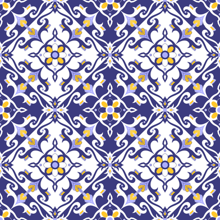 Portuguese tile pattern vector with blue, yellow and white ornaments. Azulejos, mexican talavera, delft dutch, spanish or italian majolica motifs. Tiled background for wallpaper, ceramic or fabric.