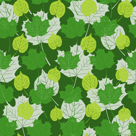 Green forest leaves pattern vector seamless. Maple tree foliage background. Nature print for autumn banner, wallpaper, eco natural package, wrapping paper or rain season card template.