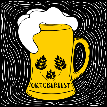 Oktoberfest poster vector for beer festival. Handmade Typographic background. Mug with froth and logo with wreath malt and hop. German hand drawn illustration. Illustration