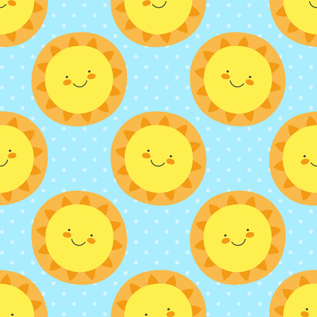 Cute baby pattern with funny cartoon sun. Seamless vector print illustration for boys birthday party, children home textile, nursery. Sweet sunny illustration with polka dotted blue background. Ilustração