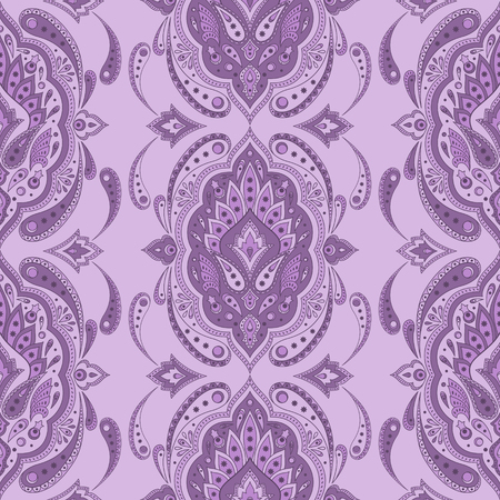 Floral indian paisley pattern vector seamless. Vintage flower ethnic ornament for persian rug fabric. Oriental folk design for textile, boho clothing, yoga wallpaper, gypsy bandana scarf print.