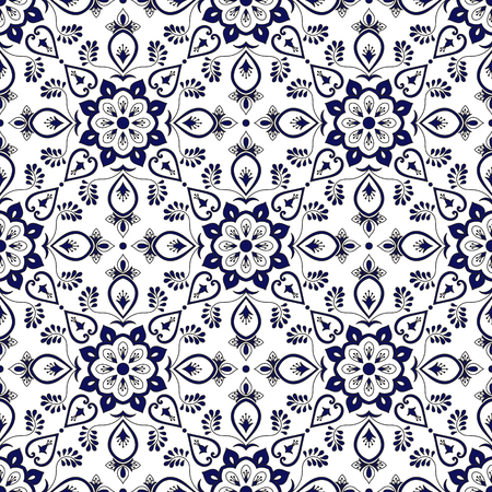 Spanish tile pattern vector with blue and white ornaments. Portuguese azulejo, mexican talavera, italian majolica or delft dutch motifs. Tiled texture background for kitchen wall or bathroom ceramic.