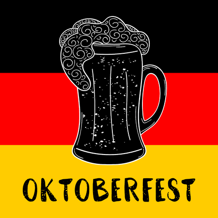 Oktoberfest poster vector for beer festival, bar, party or pub. Glass mug with froth in sketch retro style. German festive illustration in country flag colors.