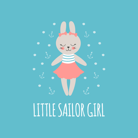 Cute baby pattern with little bunny. Cartoon animal girl print vector. Nautical illustration with sailor rabbit for children pajamas, t-shirt, kids birthday party, pillow case textile, nursery poster.