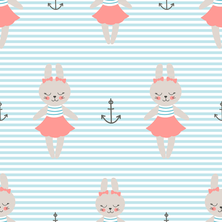 Cute baby pattern with little bunny. Cartoon animal girl print vector seamless. Sweet nautical background with sailor rabbit for kids birthday party, children bedroom, nursery diaper, pajamas fabric.