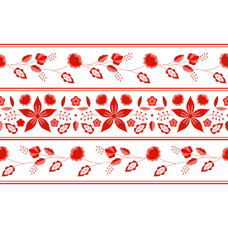 Polish folk pattern vector. Floral ethnic ornament. Slavic eastern european print. Red border flower design for gypsy blanket, bohemian interior textile, mexican tablecloth, clothing embroidery.