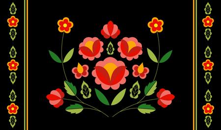 Polish folk pattern vector. Floral ethnic ornament. Slavic eastern european print. Embroidery flower design for bohemian lumbar pillow case, gypsy interior textile, rug, boho poster, table runner.