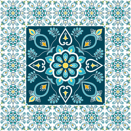 Mexican tile pattern floor vector with ceramic print. Big element in center is framed. Background with portuguese azulejo, mexico talavera, spanish, italian majolica, moroccan motifs.