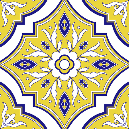 Mexican tile pattern vector seamless with flower ornaments. Portuguese azulejo, puebla talavera, spanish or italian majolica. Tiled element texture for ceramic kitchen wall or bathroom mosaic floor.