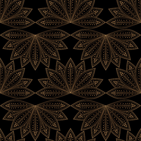 Luxury background vector. Fan peacock feathers royal pattern seamless. Golden design for beauty spa salon, yoga wallpaper, wedding party, bridal shower invitation, holiday christmas card template. Ilustração