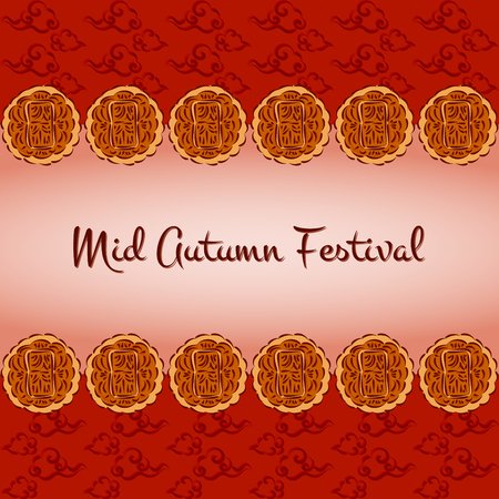 Mid Autumn Festival vector (Chuseok). Festive illustration with moon cakes and oriental clouds pattern. Design for background, greeting card, banner, flyer or wallpaper. Ilustração