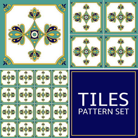 Set of 3 tile pattern vector seamless. Azulejo portuguese tiles, spanish, mexican talavera or italian majolica design. White, green, blue and yellow tiled print for wrapping, background or ceramic.