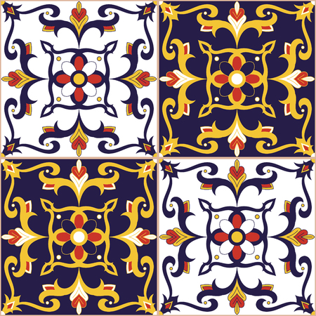 Italian tile pattern vector seamless with flowers motifs. Portuguese azulejo, mexican talavera, moroccan, spanish majolica or arabic design. Moorish tiled print for tablecloth, background or ceramic.