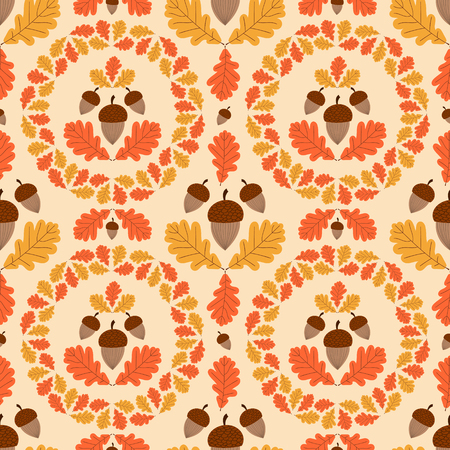 Autumn forest pattern vector seamless. Acorns and oaks leaves wreath background. Fall colorful print for seasonal banner, kids wallpaper, wrapping paper or thanksgiving card template.