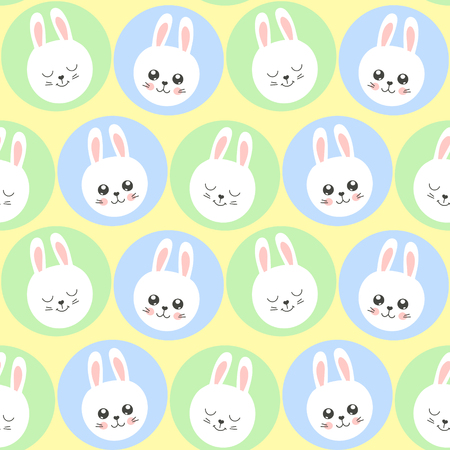 Cute baby pattern with little bunny. Cartoon animal kids print vector seamless. Funny background for spring card, easter egg hunt party invite, children pajamas fabric, nursery bedroom textile. Ilustração