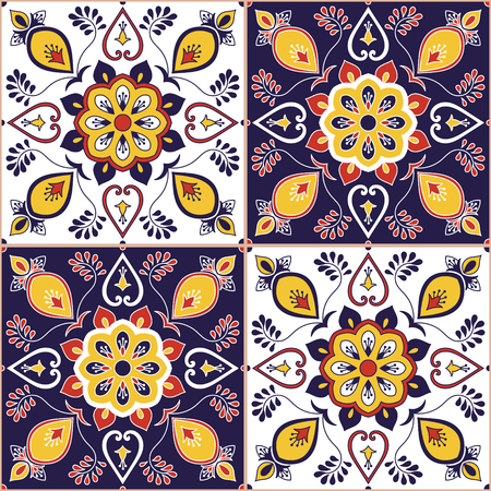 Italian tile pattern vector with baroque floral ornament. Portuguese azulejo, mexican talavera, spanish majolica, moroccan motifs. Tiled texture background for wallpaper or flooring ceramic.