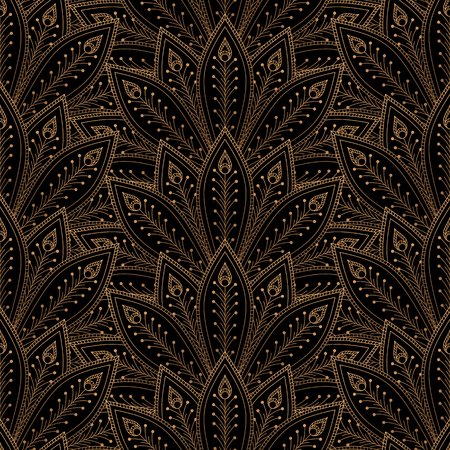 Luxury background vector. Peacock feathers fan royal pattern seamless. Golden vintage design for yoga wallpaper, beauty spa salon ornament, bridal shower, indian wedding party, holiday christmas card.