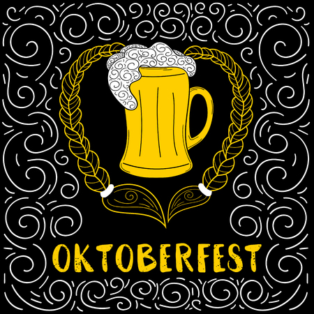 Oktoberfest poster vector for beer bar, party or pub. Mug with pretzel blond braids on blackboard in sketch retro style. German festive illustration. Çizim