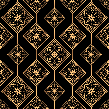 Luxury background vector. Golden royal pattern seamless. Retro tile design for beauty spa, wedding ceremony, yoga wallpaper, packaging, wrapping paper, christmas and new year backdrop. Ilustração