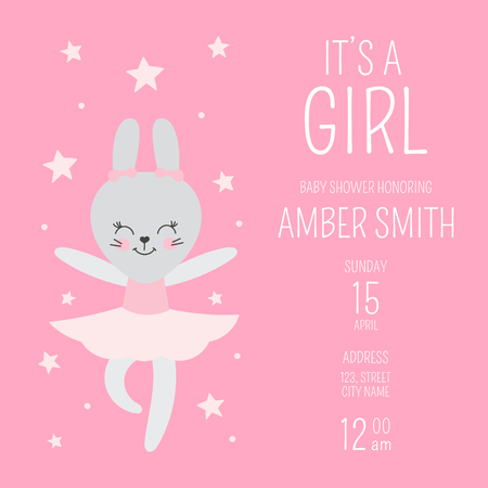 Cute baby shower girl invite card vector template. Cartoon animal illustration. Pink design with little ballerina bunny and stars. Kids newborn poster or birthday party invitation background.